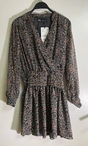 Zara Minikleid Kleid Wickeloptik V Ausschnitt Volant Muster S 36