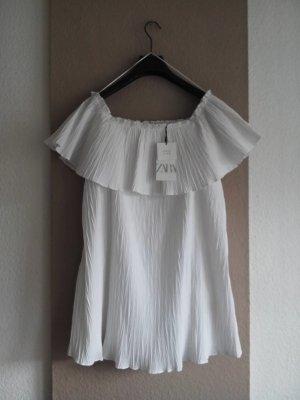 Zara Minikleid mit Volant in weiss, Grösse S neu