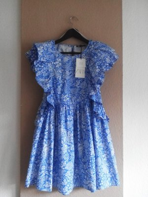 Zara Minikleid mit Volantdetail an den Ärmeln mit Blumendruck, 100% Baumwolle, Größe M, neu
