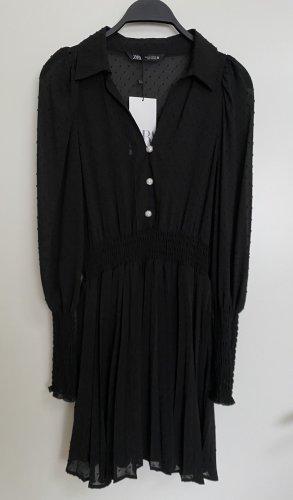 Zara Minikleid Plissee Kleid mit V Ausschnitt Spitzenkleid S 36 Neu