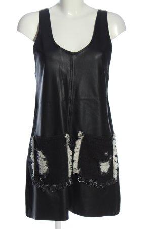 Zara Minikleid schwarz-weiß Glanz-Optik