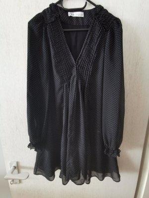 Zara Minikleid Tunika Gr. S Schwarz Punkte