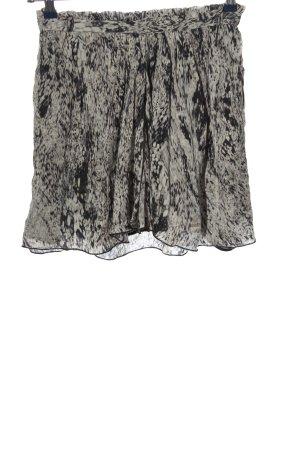 Zara Minirock hellgrau-schwarz abstraktes Muster Casual-Look