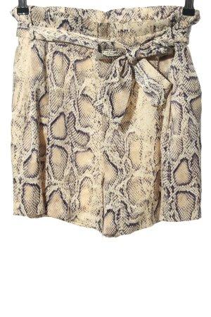 Zara High-Waist-Shorts creme-schwarz Allover-Druck Casual-Look