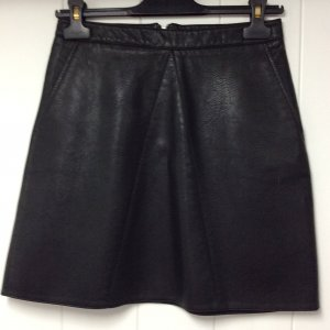 Zara Basic Spódnica z imitacji skóry czarny