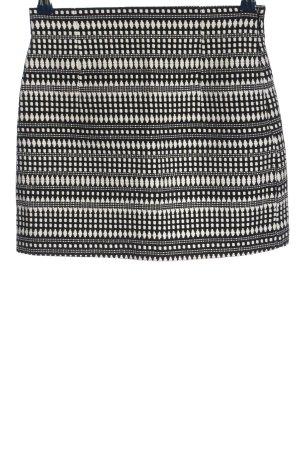 Zara Minirock weiß-schwarz Allover-Druck Casual-Look