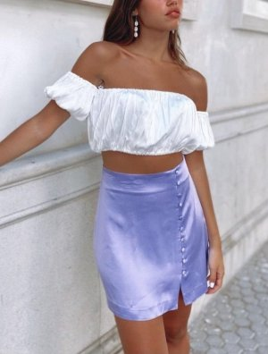 Zara Minirock lila Satin