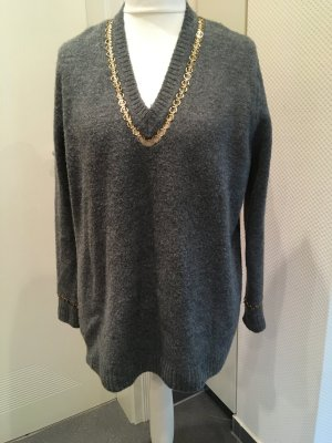 Zara Long Sweater anthracite-gold-colored polyamide