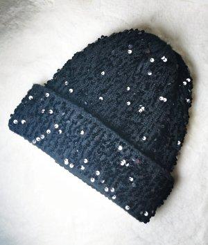 Zara Mütze mit Pailletten, schwarz, neuwertig