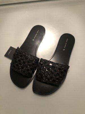 Zara Mules Sandalen Bast Rattan Slipper Schuhe Ibiza Boho