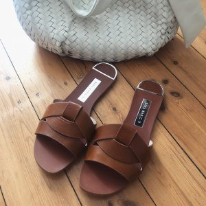 Zara Sabots brown-cognac-coloured