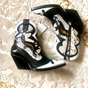 Zara multicolor snake white black cowboy ankle boots western leather heel LEDER STIEFEL