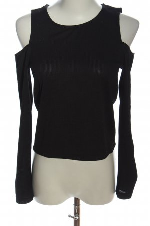 Zara Cut-Out-Top schwarz Streifenmuster Casual-Look