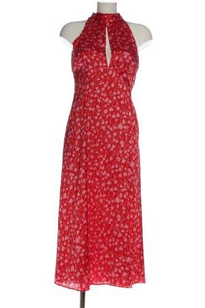 Zara Neckholderkleid rot-pink Allover-Druck Casual-Look