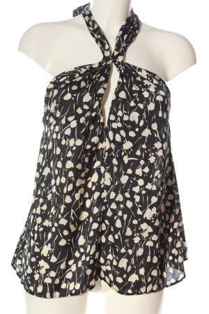 Zara Top estilo halter negro-blanco puro look casual
