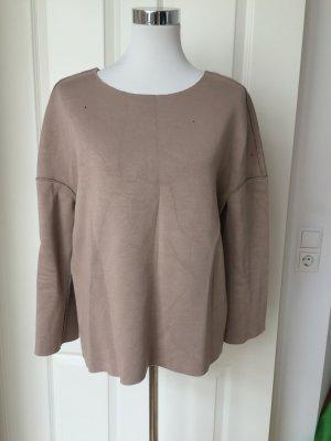 Zara Neopren Wende Shirt Bluse nude Gr. M