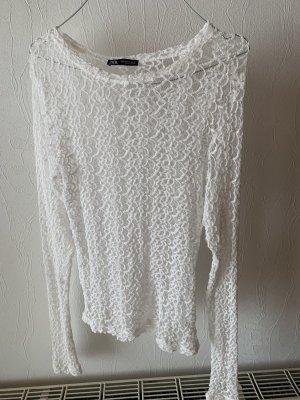 Zara Siateczkowa koszulka biały