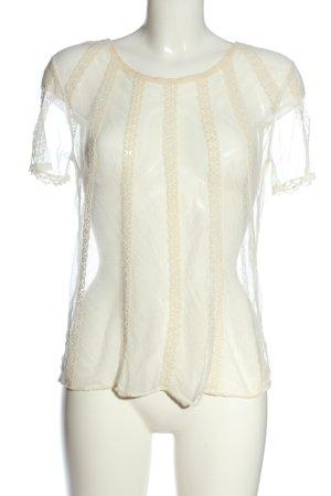 Zara Netzshirt weiß Streifenmuster Elegant