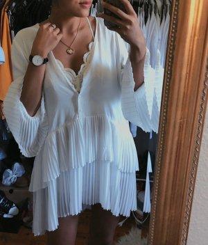 Zara neuwertiges weißes Plissee-Kleid plissiertes Kleid Bluse vintage Blogger boho
