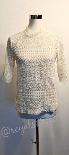 Zara / Nylon / Spitzenshirt/ Bluse / Größe L / weiß/ durchsichtig