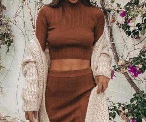Zara Maglia a collo alto marrone-beige