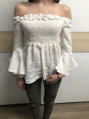 Zara Top peplum blanco