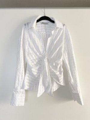 Zara Oberteil Bluse Hemd Karo Muster Transparent Ausschnitt wie Jacquemus Ausverkauft Blogger