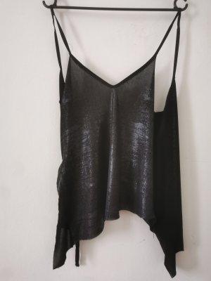 Zara Top de tirantes finos negro-color plata
