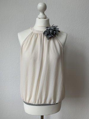 Zara Oberteil mit Blume Creme Grau Größe M