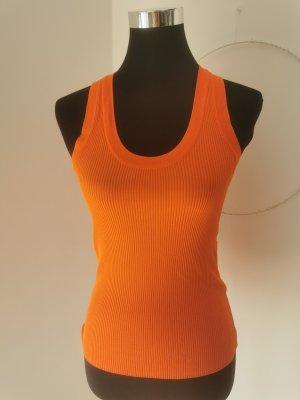 Zara Oberteil Rippshirt Orange Größe S