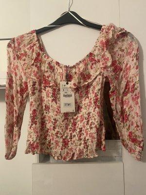 Zara Oberteil S Flower rosa