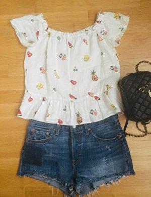 Zara Oberteil Top Bluse bunte Obstmuster weiß bunte Volant
