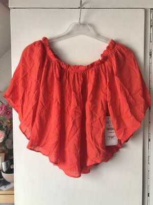 Zara Off Shoulder Bright Orange Top Schulterfreies Oberteil Cropped