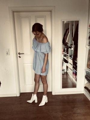 Zara Off Shoulder Kleid Trägerlos Volants Blau Weiß gestreift S