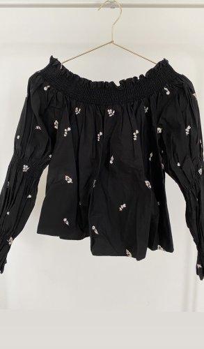 Zara Off-Shoulder Shirt Schulterfrei Raffung Schwarz mit Stickerei Weiß Oberteil Top Bluse