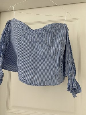Zara Glanzende blouse wit-korenblauw
