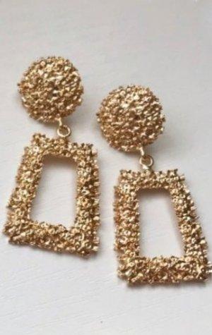 Zara Boucle d'oreille incrustée de pierres jaune foncé