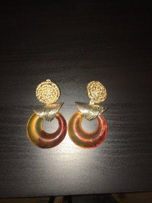 Zara Pendientes de clip color oro-marrón