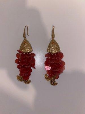 Zara Boucle d'oreille incrustée de pierres rose-doré