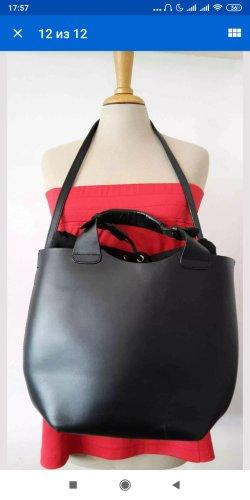 Zara Olivia Palermo Leder Bag Shopper Tasche Schwarz
