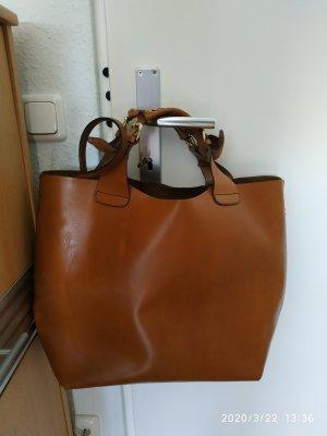 Zara Olivia Palermo Leder Büffelleder Shopper Tasche Bag Cognac Braun