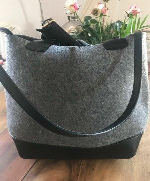 Zara Olivia Palermo Leder Shopper Tasche Schwarz Grau Filz