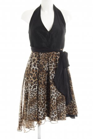 Zara Abito monospalla nero-beige motivo animale stile festa