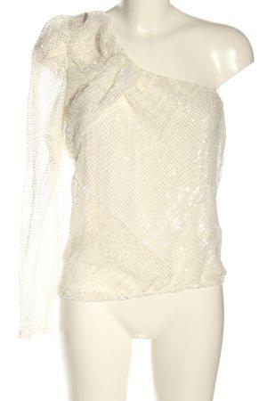 Zara Top asymétrique blanc cassé Motif de tissage élégant