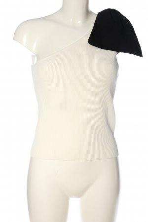 Zara Top asymétrique blanc cassé-noir motif rayé style décontracté