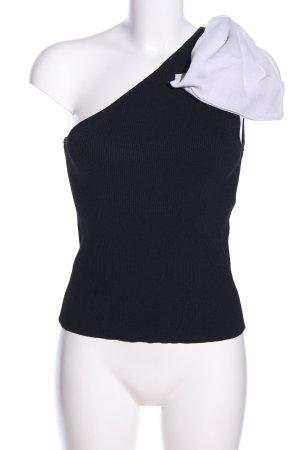 Zara One-Shoulder-Top schwarz-weiß Casual-Look