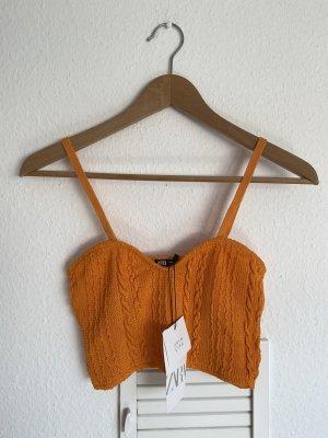 Zara orange Crop Stricktop Zopfmuster M neu