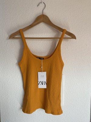 Zara Gebreide top licht Oranje-oranje