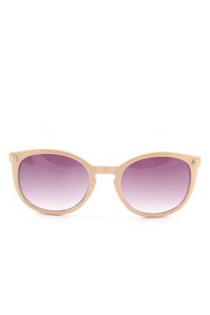 Zara ovale Sonnenbrille creme-blassgelb Casual-Look