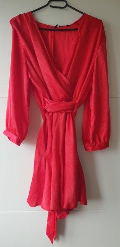 Zara Overall in Satinoptik mit Schleife Kleid himbeerrot
